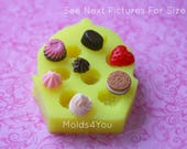 Cupcake Mold Miniature Sweets Mold Tiny Fake Food Dollhouse Food Mold Frosting Strawberry Heart Chocolate Resin Polymer Clay Molds
