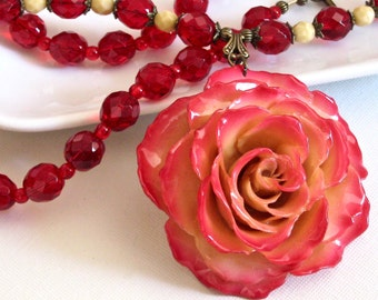 Real Rose Necklace - Large Rose Necklace, Flower Necklace, Real Flower Jewelry, Nature Jewelry, Red Necklace, Statement Necklace