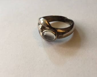 Silver Moonstone size 7.5 Ring