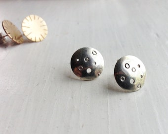 Sun and Moon Stud Earrings in Silver or Brass - Dark Love
