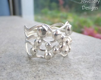 Waves & Pebbles Freeform Sterling Silver Ring (4 waves) - Organic Metalwork Wirework - UK size P / US size 7.75 can be stretched bigger