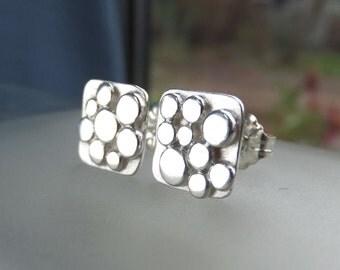 Random Pebbles Sterling Silver Square Stud Earrings - Organic Pebble Studs - Metalwork Jewelry - Hammered Pebbles