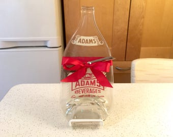 Large Vintage Adams Beverage Soda Bottle Cheese Tray, Upcycled Recycled Melted Bottle, Gift Ideas For Men, Vintage Kitch, New Kensington PA