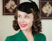 FLASH SALE - Vintage 1940s Hat - Dramatic Faux Bird Cap Style Tilt Hat with Glossy Black Feathers and Red Beak