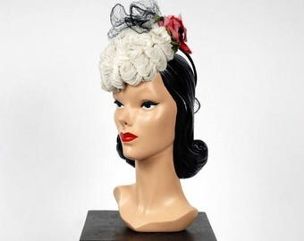 SALE - Vintage 1940s Hat - Spring 2017 Lookbook - The Antoinette Hat - Rare 1940s Statement Tilt Hat in Fine Looped Yard with Large Rosette