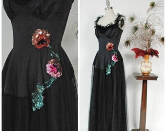 SALE - Vintage 1930s Dress - Glorious Black Tulle Net and Sequin 30s Evening Gown with Ruffled Tulle Neckline and Defined Bust