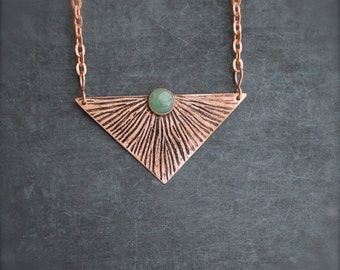 ON SALE Etched Copper Sun Ray Pendant Necklace Oxidized Metalwork Green Aventurine Gemstone Geometric Triangle Boho Jewellery