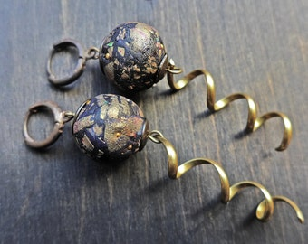 Handmade artisan earrings with polymer clay art beads-  Dark Treasure series by fancifuldevices