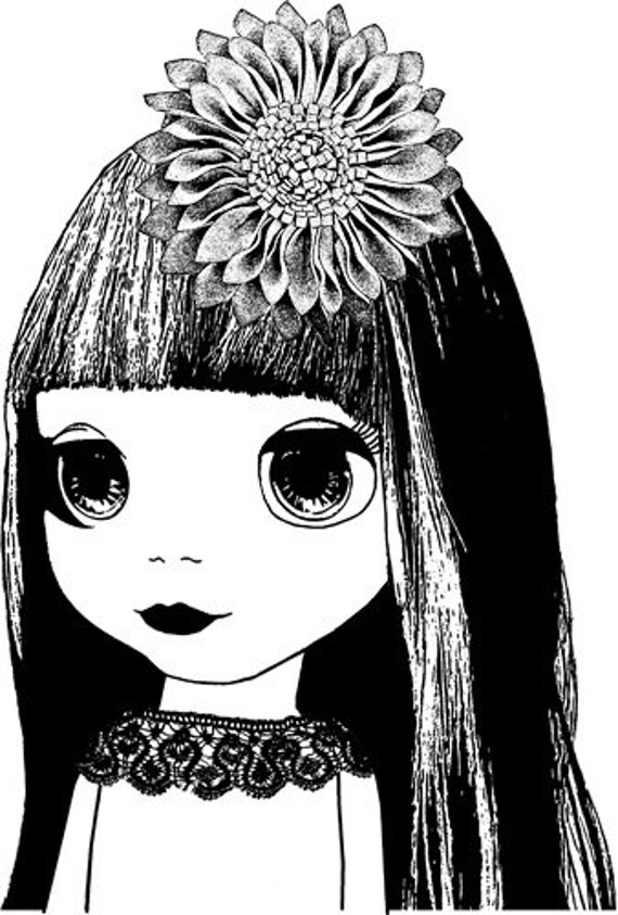 miss fancy doll big eye art png clip art Digital Image Download blythe doll printable art toy clip art graphics printables commercial use