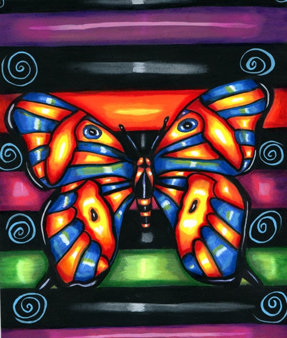 Neon BUTTERFLY ORIGINAL PAINTING butterflies Folk art bug insect pop nature acrylics wildlife artwork Elizavella
