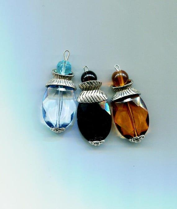 ACRYLIC DROPS pendants plastic charms big bead drops lot 40mm 3pc blue black brown jewelry findings craft supplies handmade USA