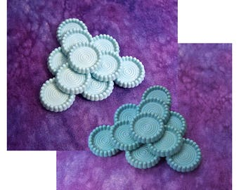Mod Blue Buttons, 21mm 3/4 inch - CHOOSE Pastel, Teal - VTG Powder Blue Retro Rings Shank Buttons - NOS Satin Teal Blue Plastic Button PL617