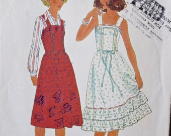 1970's Simplicity 8015 Vintage Sewing Pattern Dress Jumper with Gathered Skirt and Ruffles UNCUT Factory Folds Bust 31.5""