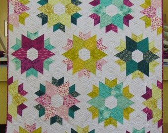 "Hexagon Stars Quilt - throw or twin size - 100% cotton - 52"" x 82"" - custom quilted!"