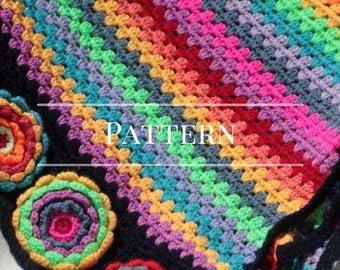 Afghan, Floral Granny Stripe crochet blanket Pattern Bright Flowers afghan pattern