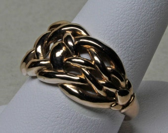 Celtic Knot Ring with Ring Shank in 14K Rose Gold, Size 9 1/2.