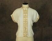 vintage 40s Silk Shirt - Asian Chinese Cream Silk Blouse - 1940s Oriental Lounge Top Sz S