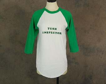 Clearance Sale vintage 70s Raglan Tshirt - 1970s Green and White Tee Unisex Cheeky Novelty Humorous T Shirt Sz S M