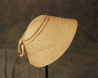 vintage 50s Cone Hat - 1950s Pink Knit Wool Conical Hat Bucket Hat