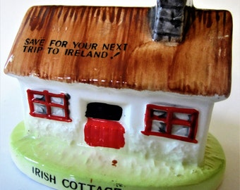 IRELAND Savings Bank Travel Trip Ceramic Japan Collectible Hand Painted Cottage Figurine Thatched