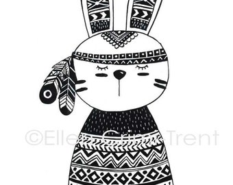 Tribal Bunny/ tribal wall art/ black and white kids decor/ kids wall art/ monochromatic decor/ kids decor/ black and white feather