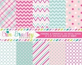 70% OFF SALE Digital Paper Pack Personal and Commercial Use Pink and Blue Chevron and Polka Dots