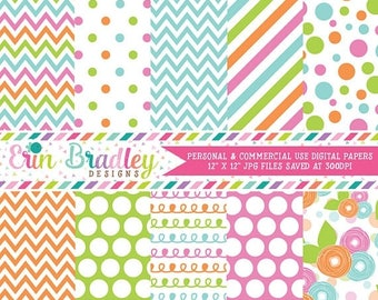 50% OFF SALE Instant Download Digital Paper Pack Pink Green Blue & Orange Chevron Stripes Flowers Polka Dots and Doodles Commercial Use