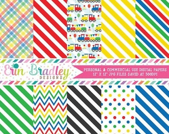 50% OFF SALE Trains Digital Paper Pack Instant Download Digital Scrapbook Papers in Red Yellow Green Blue with Chevron Stripes & Polka Dots