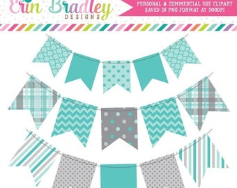50% OFF SALE Blue & Gray Bunting Clip Art Instant Download Commercial Use Digital Banners Clipart Graphics