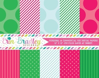 50% OFF SALE Commercial Use Printable Paper Pack Pink Green & Blue Stripes and Polka Dotted Patterns