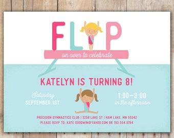 Flip on Over - Custom DIGITAL Birthday Party Invitation, any age
