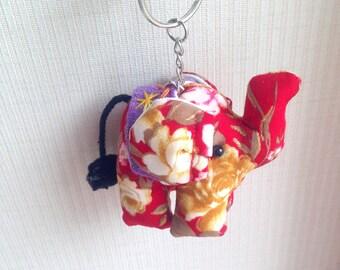 Elephant Keychain, Red Elephant Key chain, fabric elephant, fabric keychain, bag decoration, plush elephant, fringe, colorful, children
