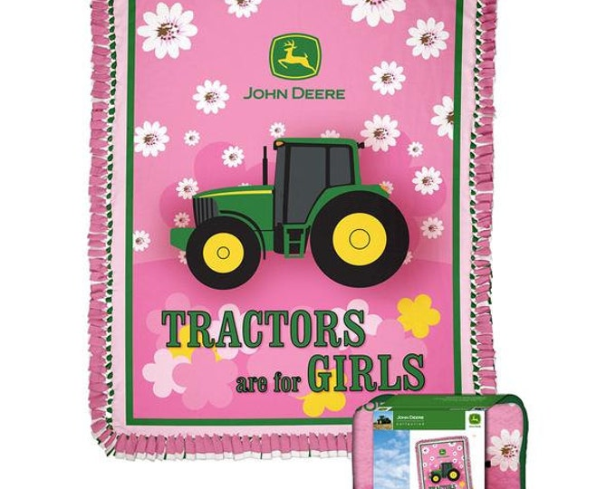 John Deere Girls Tractor Fleece No Sew Blanket Kit