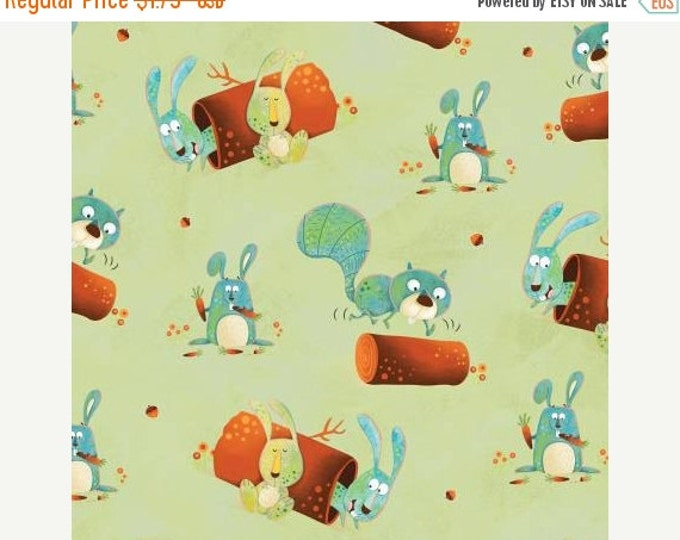 Children's Fabric, Woodsy Wonders Light Green Multi Animals Cotton Fabric by Henry Glass