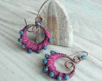 Silk Wrapped Spiral Earrings, Medium, Fuschia and Blue, Bohemian Hoops, Dark Copper Dangles, with Sterling Ear Wires