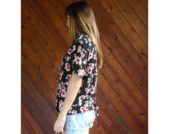 Slouchy Floral Printed s/s Blouse Top - Vintage 90s - L