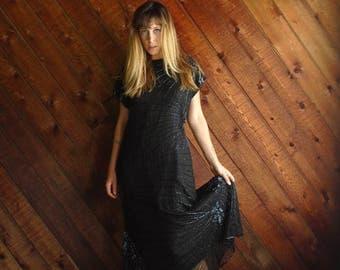 25% off Flash Sale . . . Black Beaded Silk Evening Gown Dress with Skirted Fishtail Mermaid Hem Vintage 80s MEDIUM M
