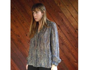 25% off Flash Sale . . . Sheer Metallic SILK Paisley Print Blouse - Vintage 70s - MEDIUM