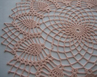 Crochet gift doily,  lace, made by Demet, peach color, pineapple designed, very nice looking, ships free in the U.S. table center