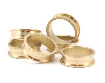Brass Channel Ring - 10 Raw Brass Channel Ring Settings (16mm) N476