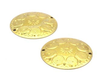 Brass Textured Charm, 10 Raw Brass Textured Charms (32mm) A0173