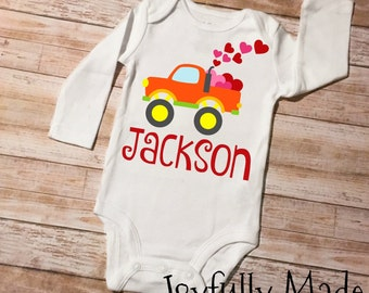 Personalized Valentine's Day Monster Truck Onesie or T Shirt - Valentine's Day T Shirt - Truck T Shirt