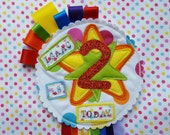 Personalised Rainbow Party Birthday Girls Boys Rosette Badge Age Ribbon Rosette made to order
