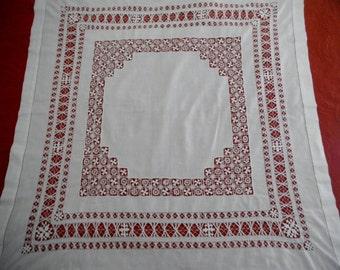 "Vintage Finley Hand Made Drawn Work Cotton Tablecloth Tea Cloth  38"" X 39"""