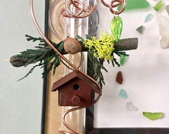 Rusty Bird House 6 in Suction Window Vase Rooter Vase