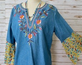 Denim Floral Embroidered Elephant Print Bell Sleeve Blouse Tee Boho Hippie Top Womens OOAK Boho Bohemian Shirt Size XL