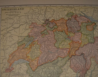 1913 Map Switzerland - Vintage Antique Map Great for Framing 100 Years Old