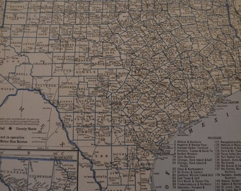 1934 State Map Texas - Vintage Antique Map Great for Framing