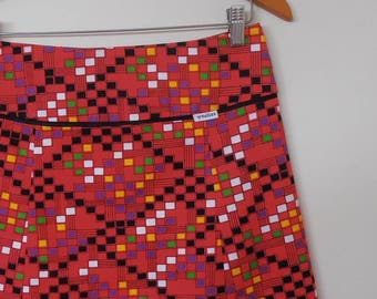 mod squares...ladies A line skirt in vintage fabric