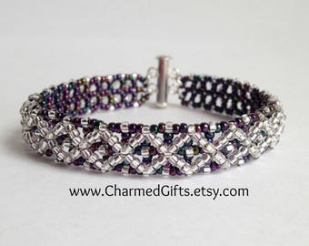 Diamonds and Dots Bracelet - Purple and Silver